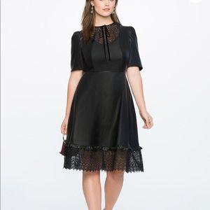 Eloquii faux leather dress with lace bib trim 18